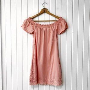 Guess Dusty Pink Cold Shoulder Eyelet Trim Dress